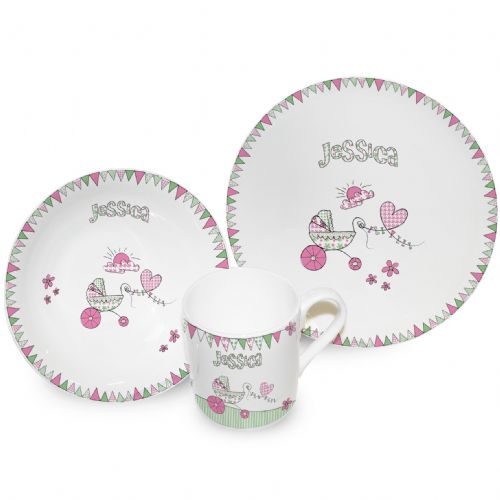 Personalised Pram Bunting Breakfast Set